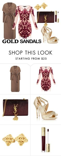 """Gold Sandals"" by sherrykaydesigns ❤ liked on Polyvore featuring Yves Saint Laurent, Jimmy Choo, Chanel, Estée Lauder, goldsandals and marsala"