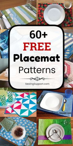 Placemat Patterns to sew. 60+ Free Placemat (Place mat) sewing patterns, tutorials, and diy projects. Many quilted designs, many simple and easy designs. #SewingSupport #Placemat #Pattern, #Diy #Sewing #Projects