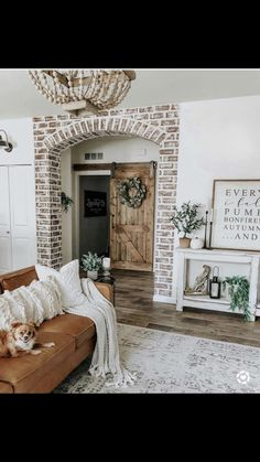 Love the brick detail. Can't tell if it's real brick or painted. Either way, love it. French Country Decorating, French Rustic Decor, Country French
