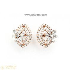 Diamond Earrings for Women in 18K Gold VVS Clarity E-F Color -Indian Diamond Jewelry -Buy Online Diamond Earrings For Women, Diamond Dangle Earrings, Diamond Earing, Diamond Studs, Women's Earrings, Diamond Jewelry, Diamond Jhumkas, Ear Studs, Designer Earrings