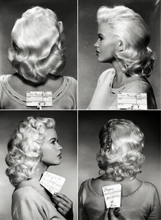 Inspiration for you this Tuesday! Always loved this snap of this hair test on Jayne Mansfield 🖤🦇🖤 Jayne Mansfield, Vintage Makeup, Vintage Beauty, 1950s Hairstyles, Wedding Hairstyles, Fancy Hairstyles, Summer Hairstyles, Wig Hairstyles, Hair Test