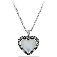 David Yurman Midnight Méange Heart Pendant with Moon Quartz and... ($1,550) ❤ liked on Polyvore featuring jewelry, necklaces, accessories, colares, collares, heart pendant necklace, diamond heart necklace, long chain necklace, chain necklace and heart chain necklace