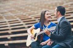 Red Rocks Amphitheater engagement session - couple playing the guitar - Urban Safari Photography - A Colorado Courtship Blog