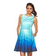 Women's Apt. 9® Watercolor Scuba Fit & Flare Dress