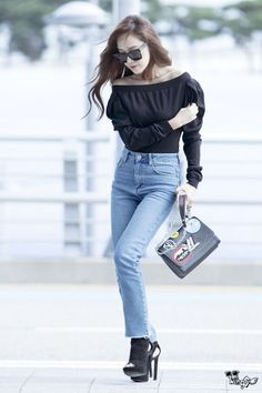 Off Shoulder Top with Maong Pants and Shades Airport Fashion of Jessica Jung