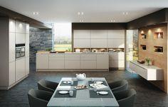 Küche mit Rückwand aus Wildeiche