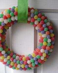 Rainbow Gumdrop Wreath by justpretty on Etsy,