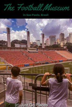 Visiting the Football Museum at Pacaembu Stadium in Sao Paolo Brasil with kids