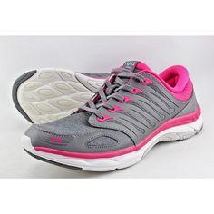 Ryka Flora Women (M) Round Toe Synthetic Walking  Sneaker Pink/Grey Memory Foam #Ryka #Walking