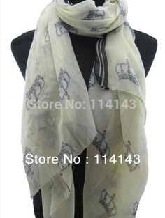 10pcs lot Fashion Ladies Crown Print Scarf Shawl Wrap 180 110cm 6e6ae5303954