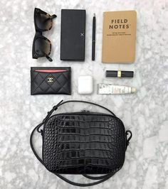 What's in my bag flatlay with Pop & Suki Croc Camera Bag and Chanel Card Holder What In My Bag, What's In Your Bag, Block Heels Outfit, Chanel Card Holder, Inside My Bag, What's In My Purse, My Style Bags, Bag Organization, Organizing