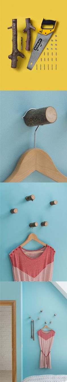 DIY: Hangers from small wood logs | Recyclart