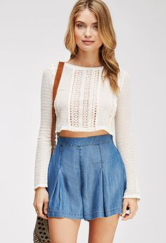 Life in Progress Dropped-Pleat Chambray Shorts | Forever 21 - 2000135663
