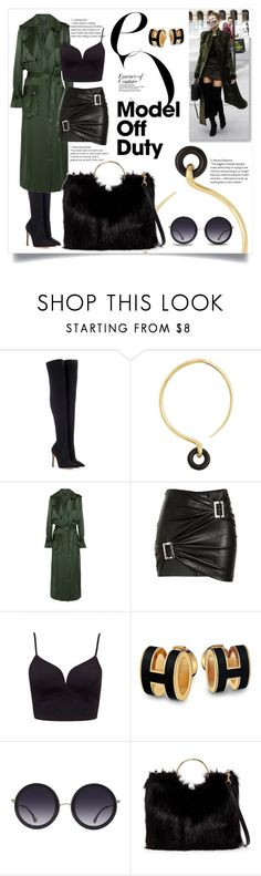 """Black & military green!"" by ornellag ❤ liked on Polyvore featuring Gianvito Rossi, Charlotte Chesnais, Michael Lo Sordo, Jitrois, Alice + Olivia and T-shirt & Jeans"