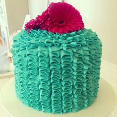 Teal baby shower ruffle cake by @Vic Icasas Fergusson- yellow flower for boy