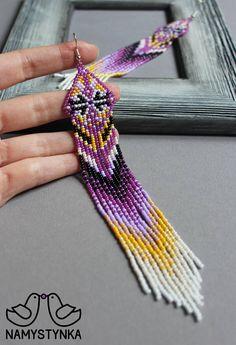 Purple chandelier earrings Extra long earrings Fringe beaded