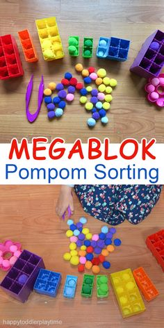 Mega Blok Pompom Sorting This activity works on fine motor skills. Tweezers are used to pick up the colored pom poms and place them into the correct colored block. The post Mega Blok Pompom Sorting appeared first on Toddlers Diy. Motor Skills Activities, Toddler Learning Activities, Montessori Activities, Infant Activities, Colour Activities Eyfs, Colour Activities For Toddlers, Autism Activities, Gross Motor Skills, Fine Motor Activities For Kids