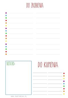 Lista DO ZROBIENIA do druku! - partymika Back To School Organization, Planner Organization, Planner Pages, Printable Planner, School Survival Kits, School Must Haves, Free Calendar, Bullet Journal, Brain Dump
