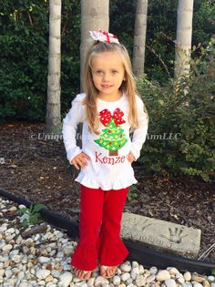 Toddlers & Girls Christmas outfit by UniqueMemoriesLeAnn on Etsy
