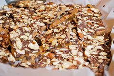 almond toffee - came out great! Make sure to use a cookie sheet or the toffee will come out too thick