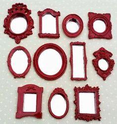 kit 11 mini espelhos com moldura de resina vermelho