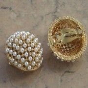 Pearl dome clip on earrings | vintage jewellery | Jewels & Finery UK