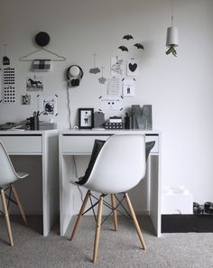 black and white kids study space from Michelle Halford's home