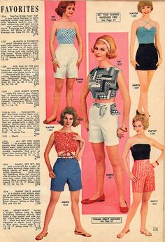 Curve highlighting summer tops and shorts from Lana Lobell, 1962.
