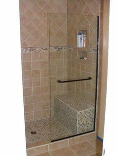 Frameless Glass Shower Door Installation in Williamsburg , Virginia Glass Shower Enclosures, Glass Shower Doors, Shower Tub, Glass Doors, Window Glass Replacement, Slider Window, Small Tub, Shower Shelves, Frameless Shower