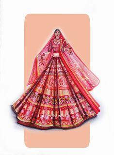Fashion Illustration Collage, Indian Illustration, Fashion Illustration Dresses, Dress Design Sketches, Fashion Design Drawings, Fashion Sketches, Indian Style, Indian Art, Panda Painting
