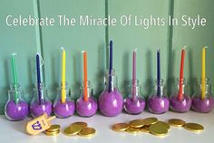 DIY idea for making a Hanukkah Menorah.  Decoratingn for Chanukah.  This is sand art. Geat idea for your mantel or a shelf, or on a  table, or in a bay window.