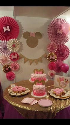Minnie Mouse Birthday Decorations, Minnie Mouse Theme Party, Minnie Mouse First Birthday, Minnie Mouse Baby Shower, Mickey Mouse Birthday, First Birthday Parties, Winter Onederland Party Girl 1st Birthdays, Deco Table, Creations