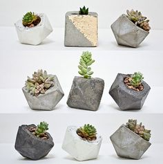 Modern small geometric planter for succulents by Concrete Geometric Cacti And Succulents, Planting Succulents, Planting Flowers, Succulent Planters, Garden Planters, Wall Planters, Balcony Garden, Concrete Crafts, Concrete Planters