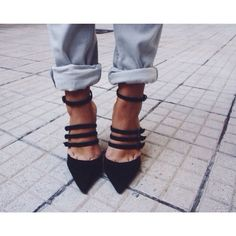 black heels paired with cuffed jeans Pinterest: @JENNY