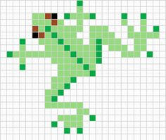Small frog chart for cross stitch, knitting, knotting, beading, weaving, pixel art, and other crafting projects.