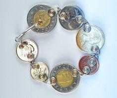 Riveted Canadian coin bracelet