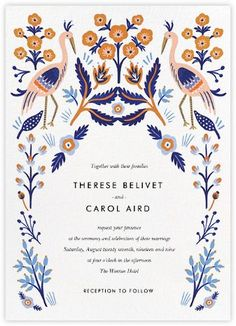 Heron Heralds (Invitation) por Rifle Paper Co para Paperless Post - Einladung Geburtstag - Cardápio de Casamento Wedding Invitation Paper, Wedding Stationary, Shower Invitations, Invitation Cards, Invitations Online, Illustrated Wedding Invitations, Invitation Suite, Invites, Invitation Wording