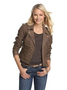 Members Only by Rebecca Eve Women's Seamed Leather Moto Jacket