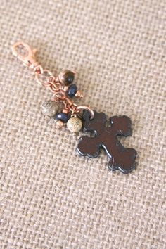 Cross Copper Key Chain Cross Purse Charm Jasper by DlightedJewelry, $26.00