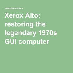 Alan Kay recently loaned his 1970's Xerox Alto to Y Combinator and I'm helping with the restoration of this legendary system. The Alto was the first computer designed around a graphical user interface and introduced Ethernet and the laser printer to the world. The Alto also was one of the first object-oriented systems, supporting the Mesa and Smalltalk languages. The Alto was truly revolutionary when it came out in 1973, designed by computer pioneer Chuck Thacker.