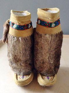 Vintage Rabbit Fur and Suede Mukluks Moccasin Boots Moccasin Boots, Shoe Boots, Beaded Moccasins, Native American Beading, Fur Pom Pom, Rabbit Fur, Vintage Shoes, Ugly Shoes, Cowboy Hats