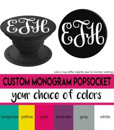 Custom Monogram Popsocket in Black(Your Choice of Monogram Color!)  Get your custom monogram initials now on a cute space Popsocket! by savvycraftycute on Etsy