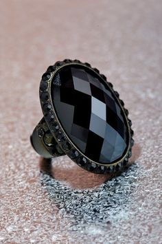 Onyx cocktail ring. #