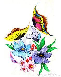 Flores Y Mariposas Fotografía de archivo libre de regalías ...