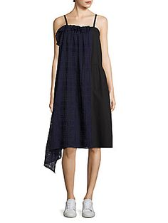 Public School Ema Plaid Overlay Dress In Navy School Fashion, Public School, Asymmetrical Dress, Ruffle Dress, Overlays, Plaid, Clothes For Women, Navy, Dresses