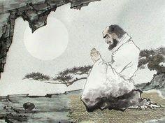 Bodhidharma (Da Mo) en méditation devant la rivière