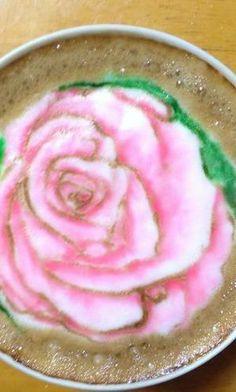 Pink Rose Latte Art