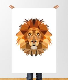 Low Poly Lion Digital Illustration, Geometric Lion Print, Printable Wall Art, Childrens Wall Art, Home Decor, Jungle Animal Print, Lion Art by tothewoodside on Etsy