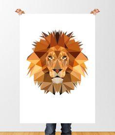 Low Poly Lion Digital Illustration, Geometric Lion Print, Printable Wall Art, Childrens Wall Art, Home Decor, Jungle Animal Print, Lion Art by tothewoodside on Etsy