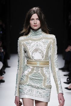 Mmmmmmm.... Fall 2012 Embellished Long Sleeve Crew Neck Mini Dress With Prints In Pale Green And White